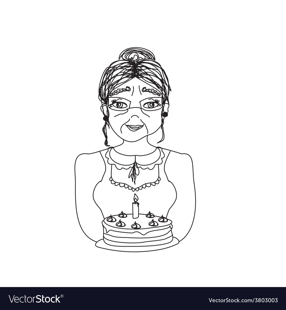 Old lady carry birthday cake vector | Price: 1 Credit (USD $1)