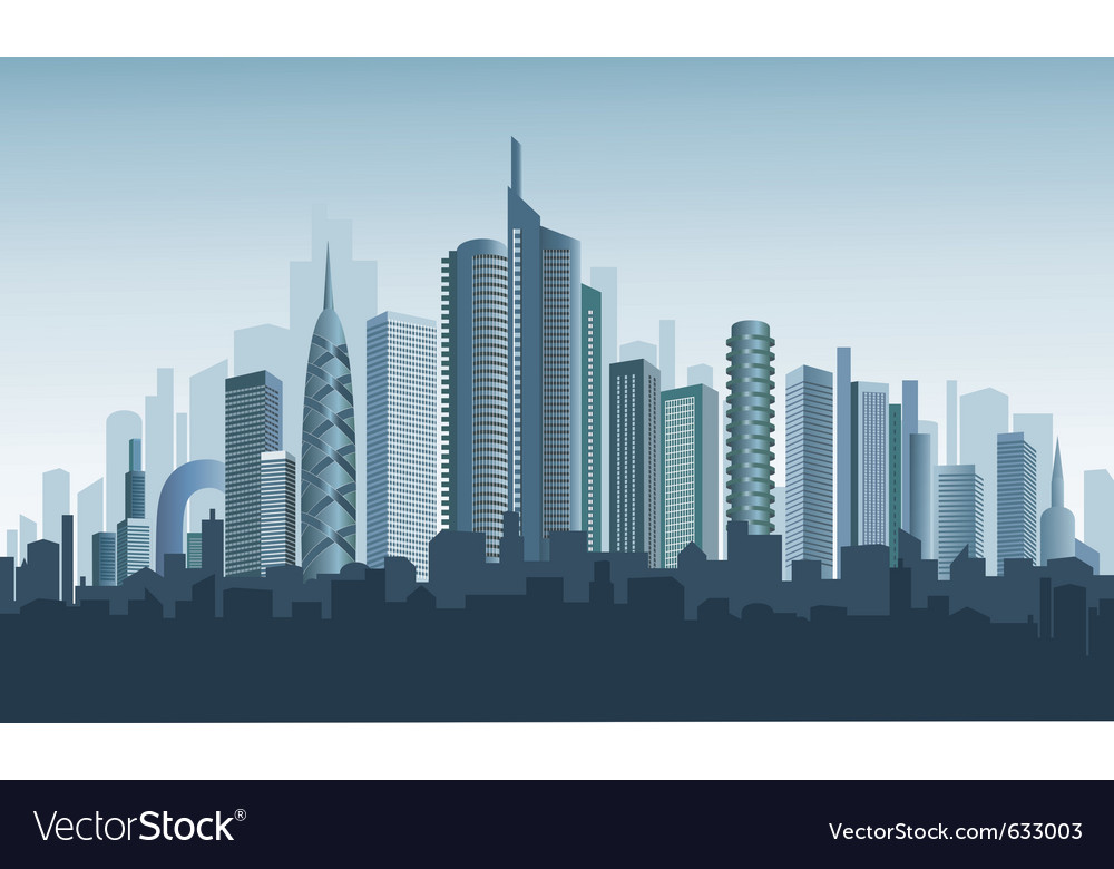 Panorama of modern city vector | Price: 1 Credit (USD $1)