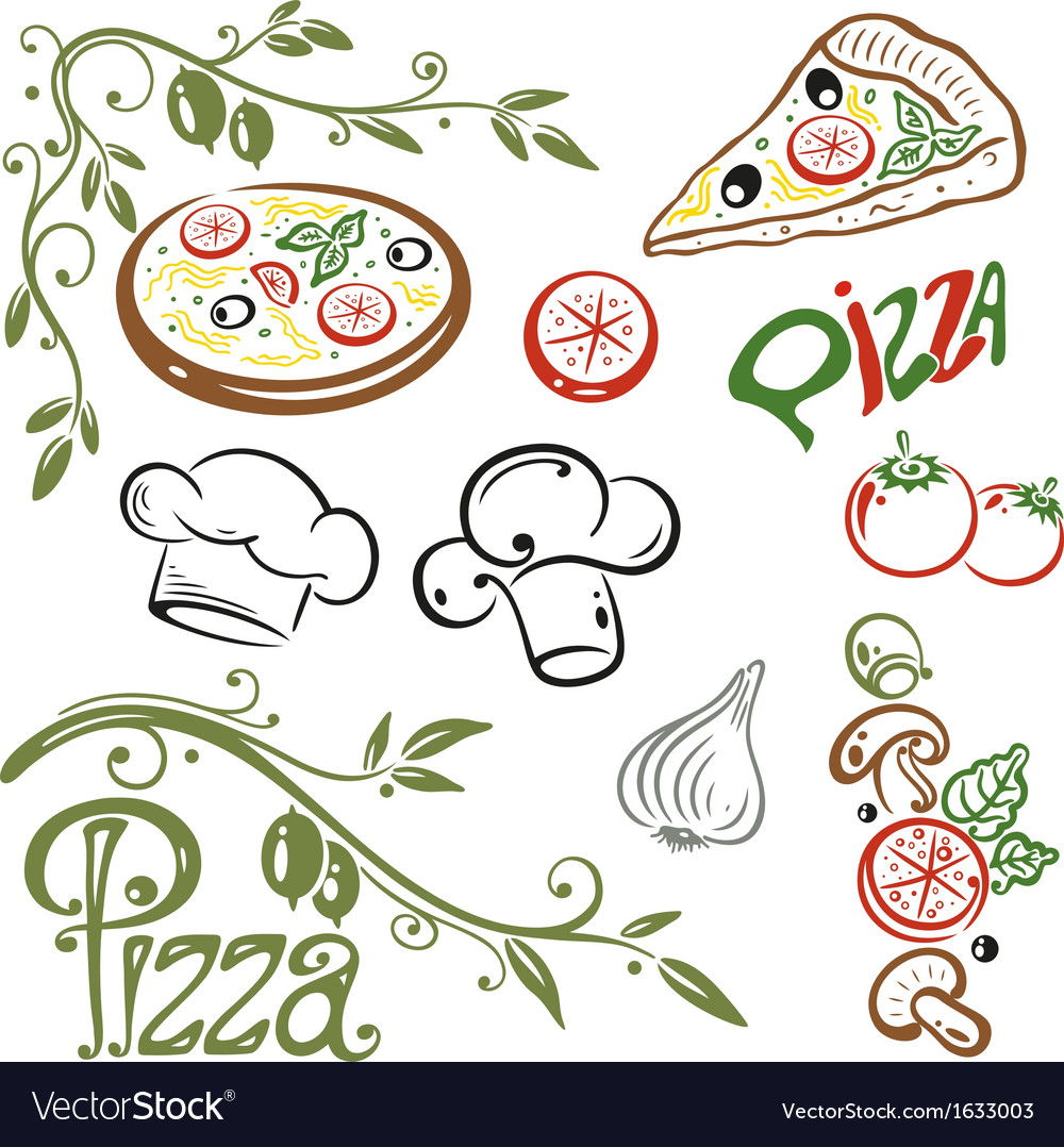 Pizza set italian food vector | Price: 1 Credit (USD $1)