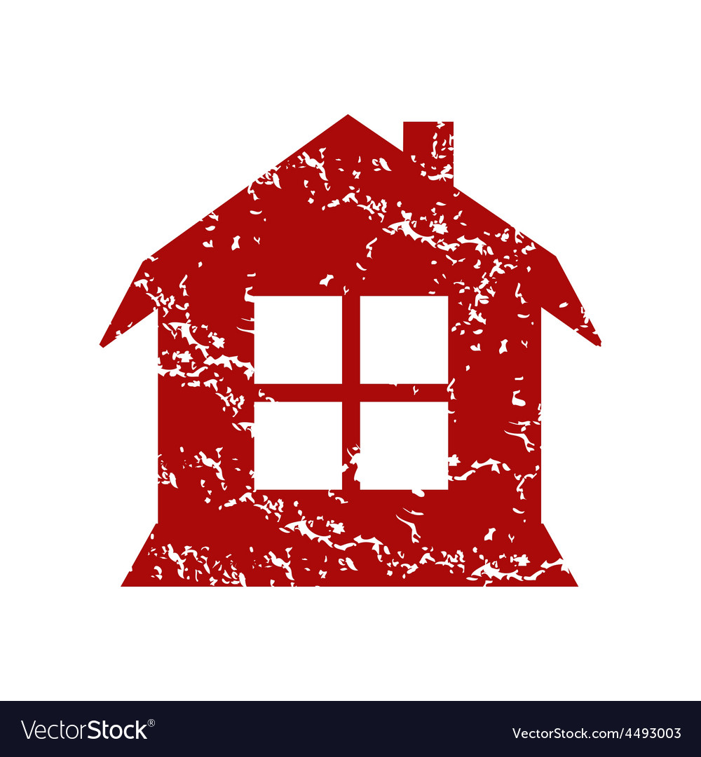 Red grunge house logo vector | Price: 1 Credit (USD $1)