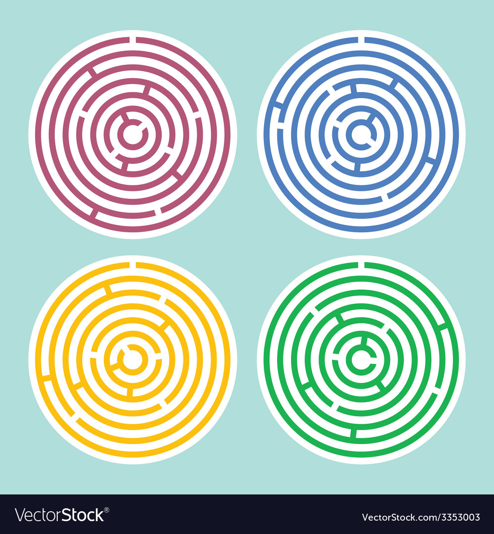 Round maze set vector | Price: 1 Credit (USD $1)