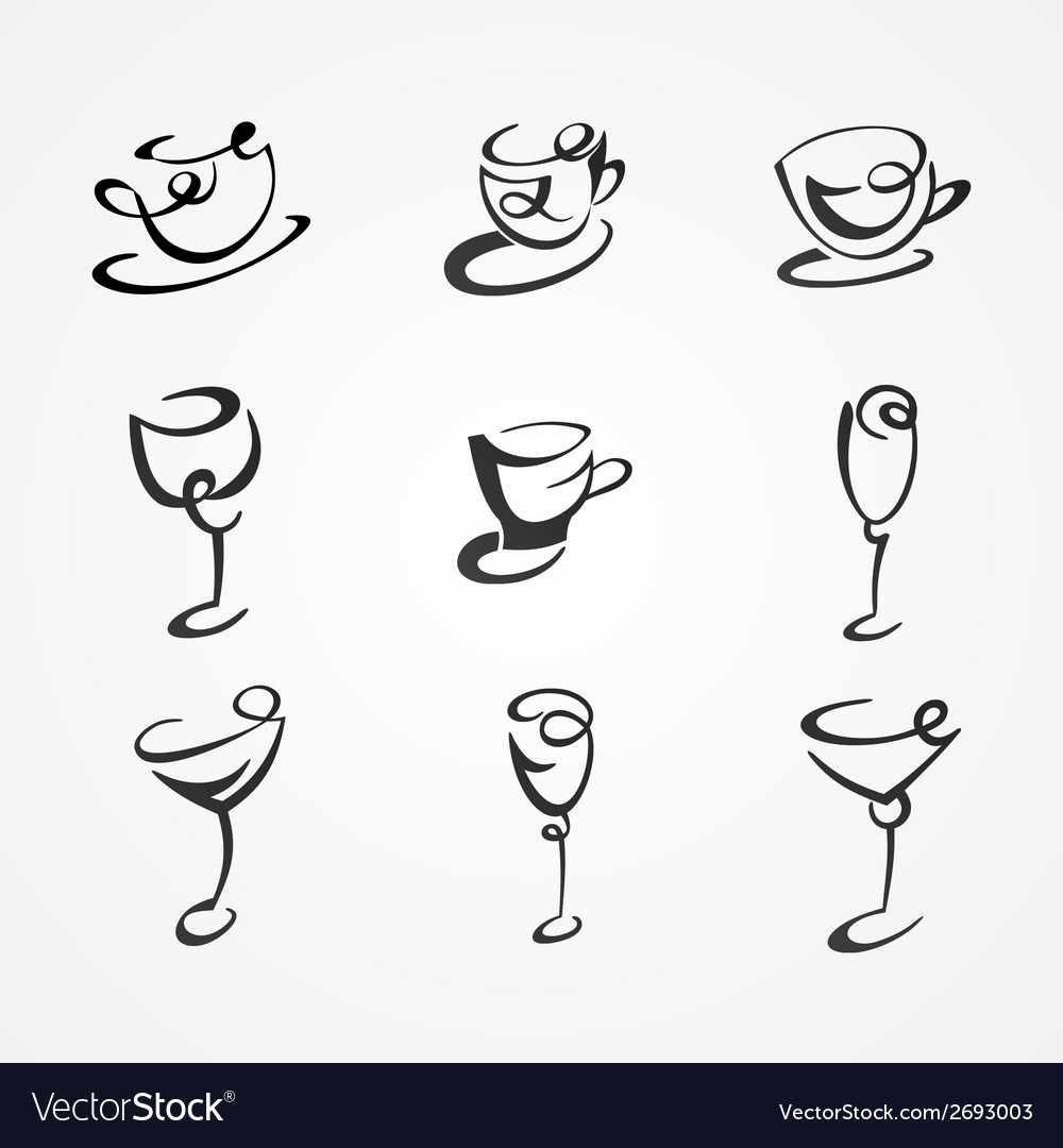 Set of cups and glasses vector | Price: 1 Credit (USD $1)