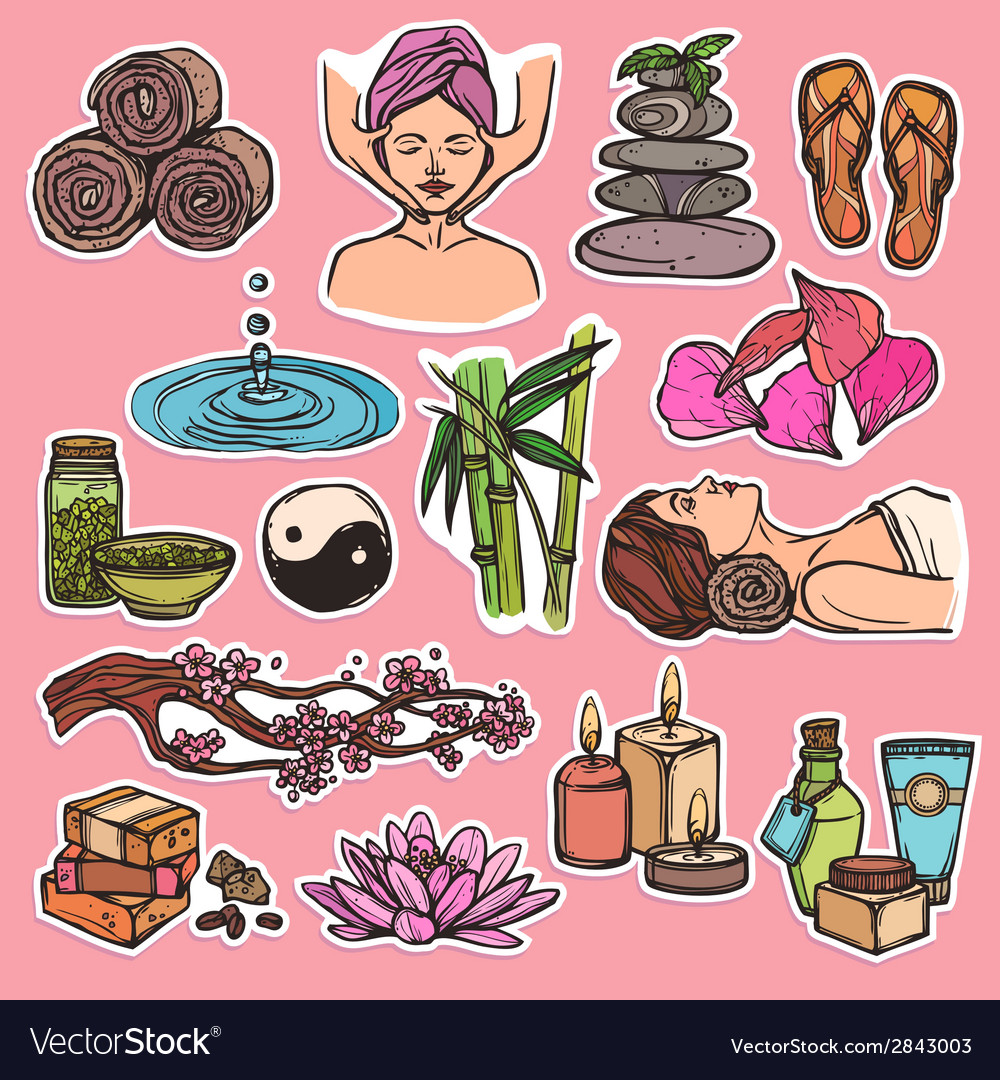 Spa sketch icons color vector | Price: 1 Credit (USD $1)