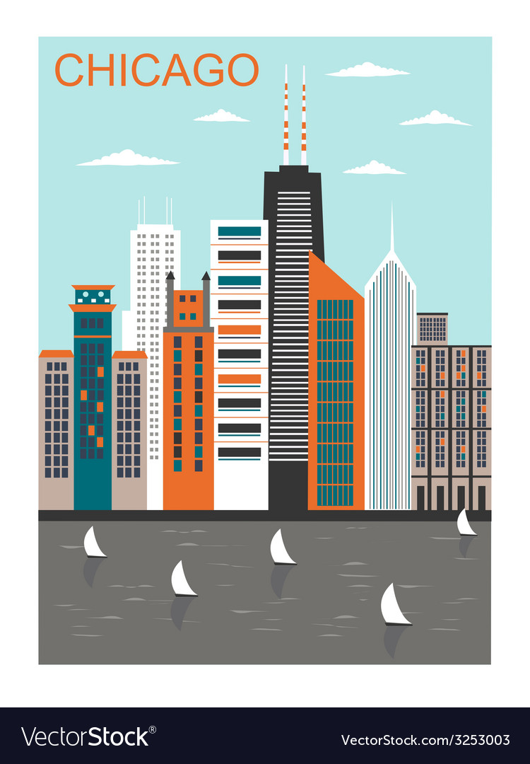 Stylized chicago city vector | Price: 1 Credit (USD $1)
