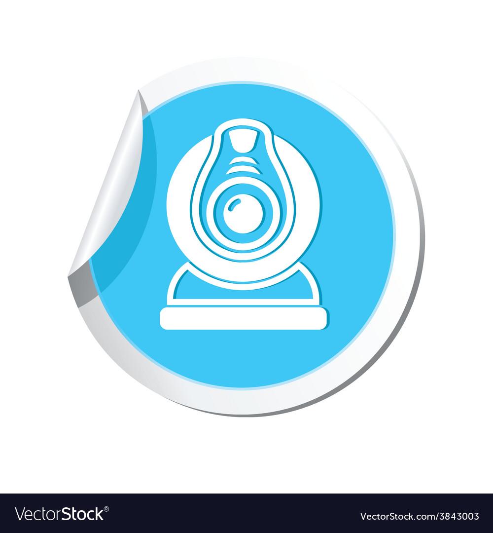 Web camera blue label vector   Price: 1 Credit (USD $1)