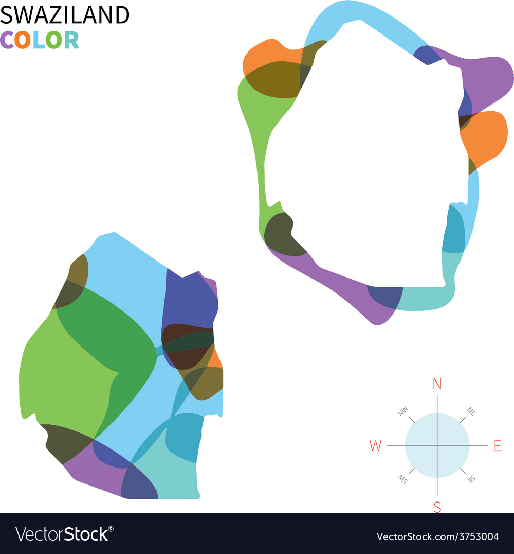 Abstract color map of swaziland vector | Price: 1 Credit (USD $1)
