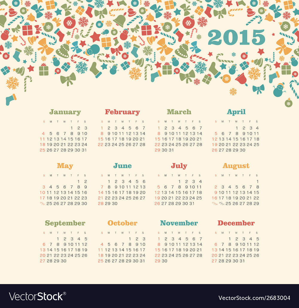 Calendar 2015 year with christmas pattern vector   Price: 1 Credit (USD $1)