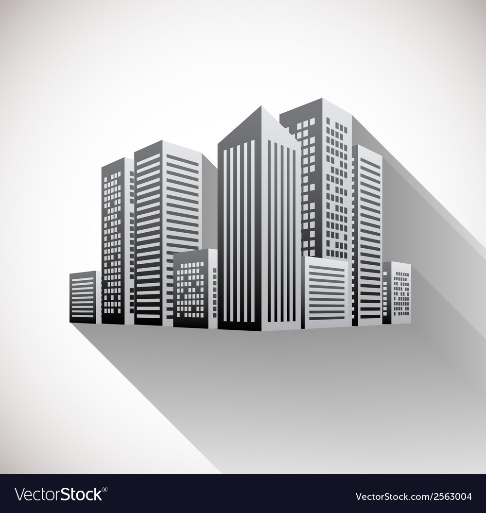 Cityscape with long shadow vector | Price: 1 Credit (USD $1)