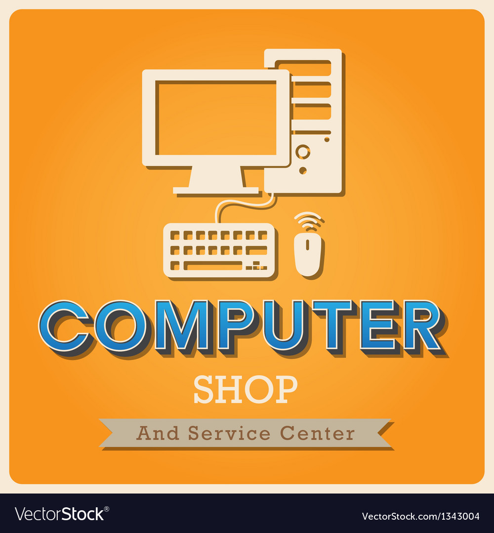 Computer shop retro poster vector | Price: 1 Credit (USD $1)
