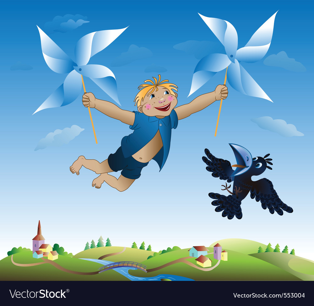 Imaginations of the little boy flying on revolving vector | Price: 1 Credit (USD $1)