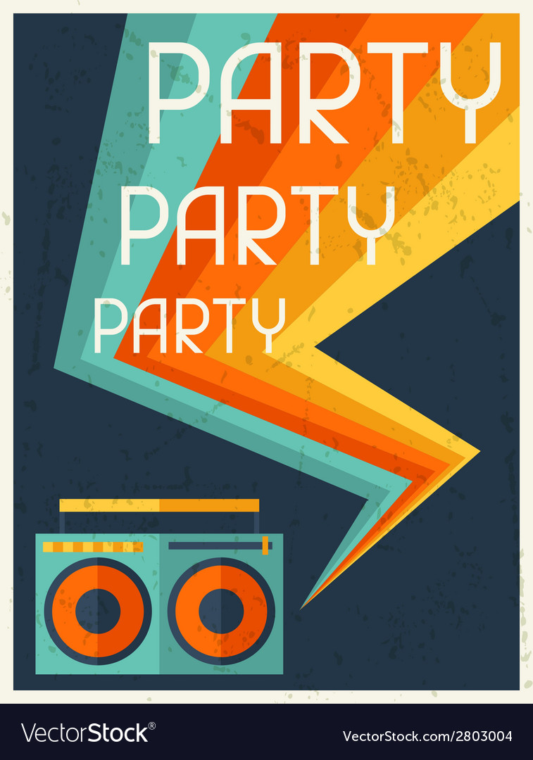 Party retro poster in flat design style vector | Price: 1 Credit (USD $1)