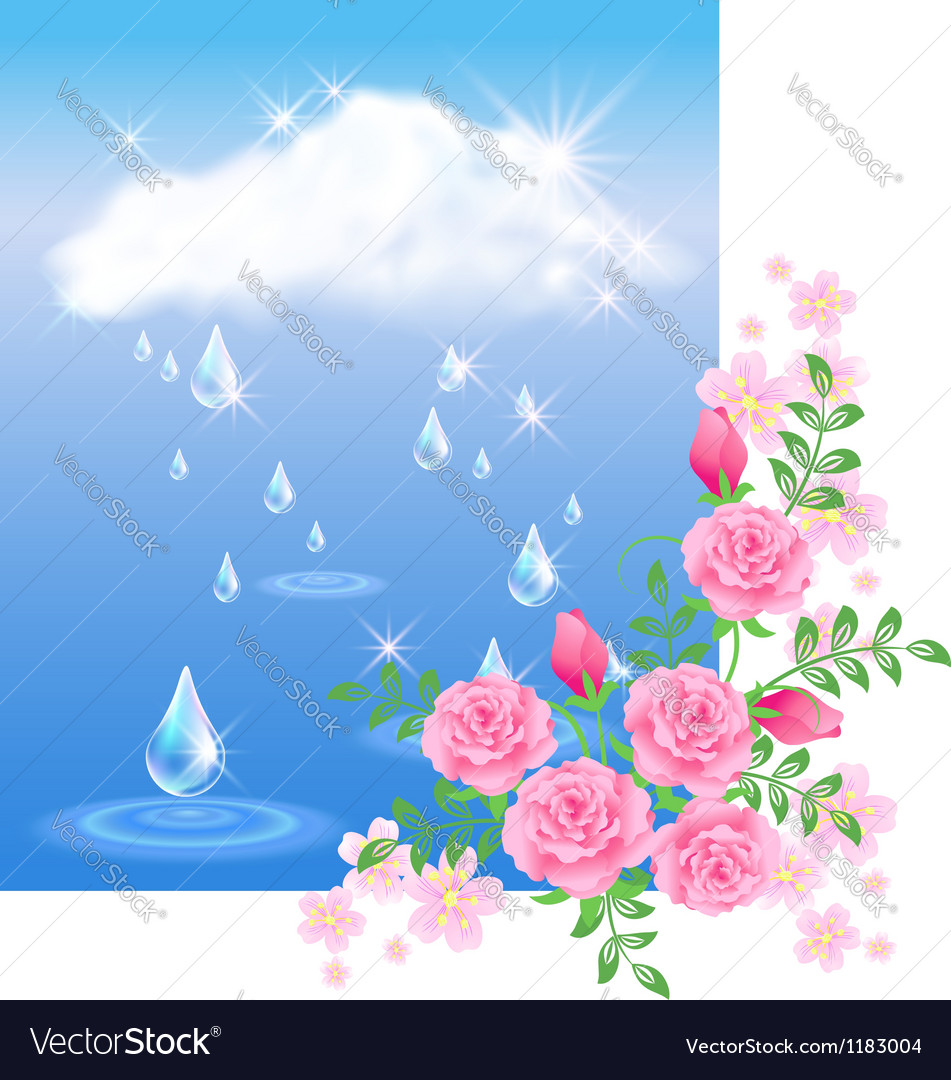 Rain and roses vector | Price: 1 Credit (USD $1)