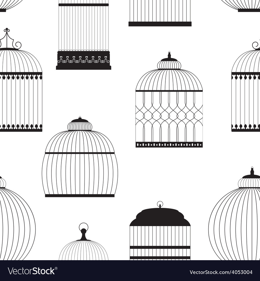 Vintage birdcages silhouettes seamless pattern vector | Price: 1 Credit (USD $1)