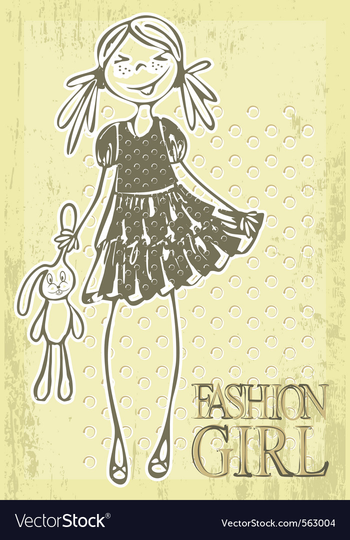 Vintage hand drawn girl vector | Price: 1 Credit (USD $1)
