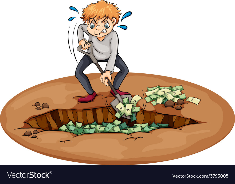 A man digging the money in the pit vector | Price: 1 Credit (USD $1)