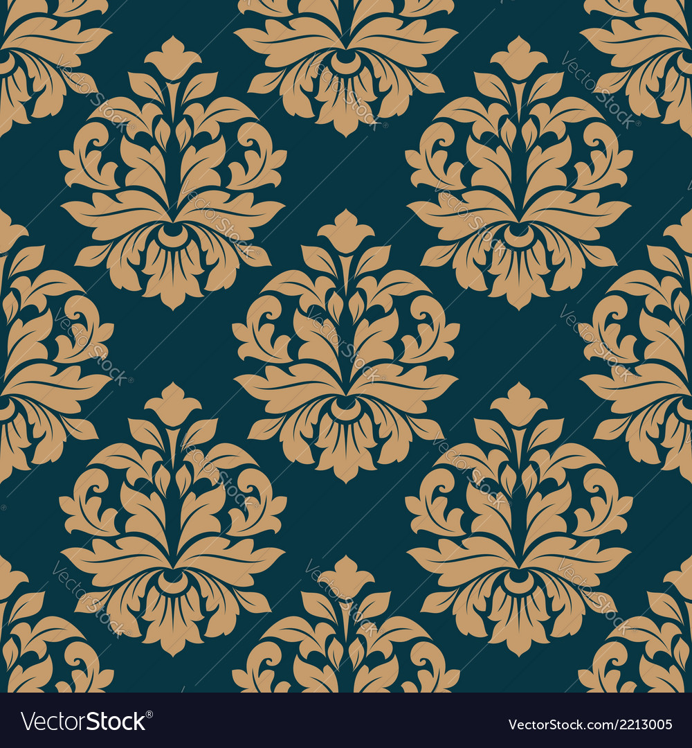 Bold heavy arabesque seamless pattern on blue vector | Price: 1 Credit (USD $1)