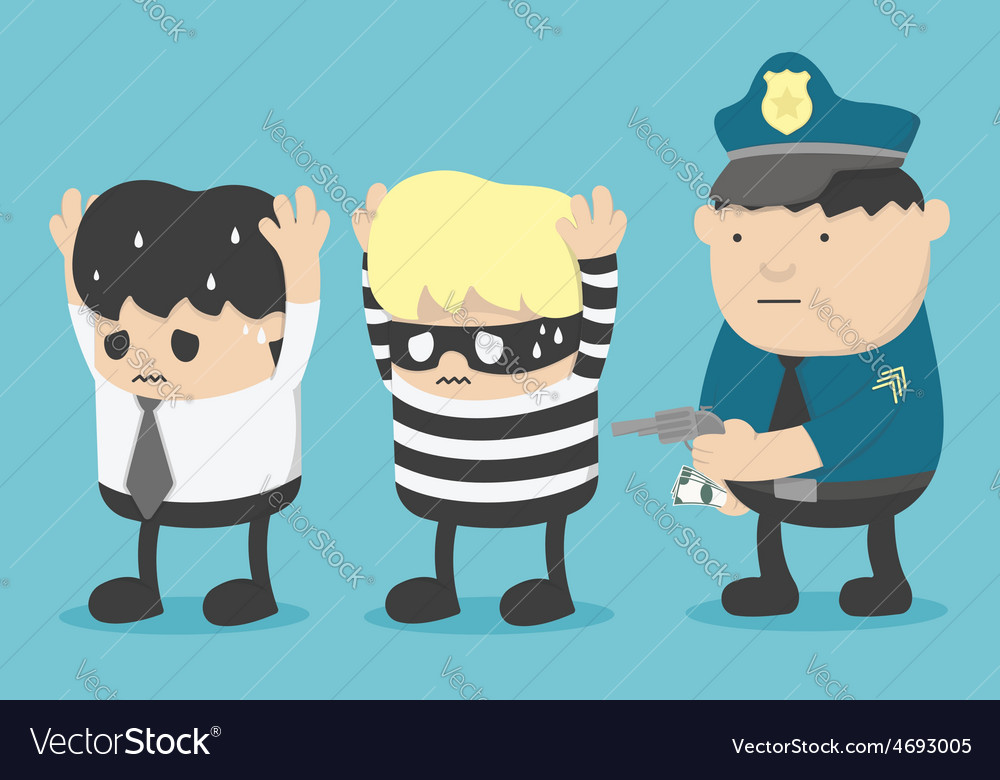 Concept business man who is friends with thieves vector | Price: 1 Credit (USD $1)