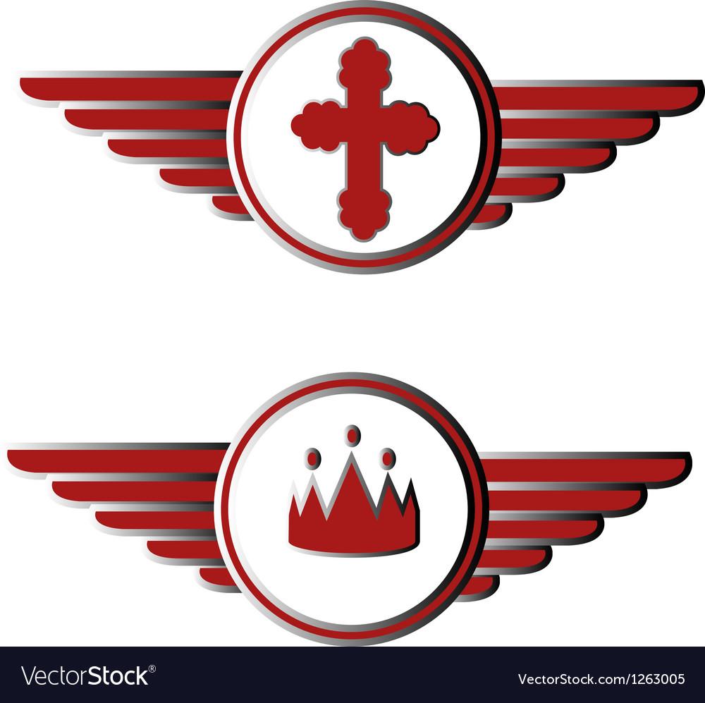 Cross and crown symbols vector   Price: 1 Credit (USD $1)