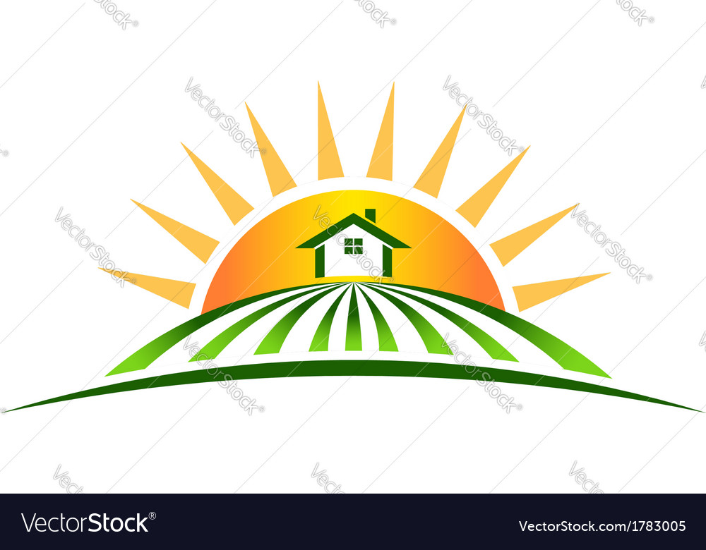 Farm house with sun logo vector | Price: 1 Credit (USD $1)