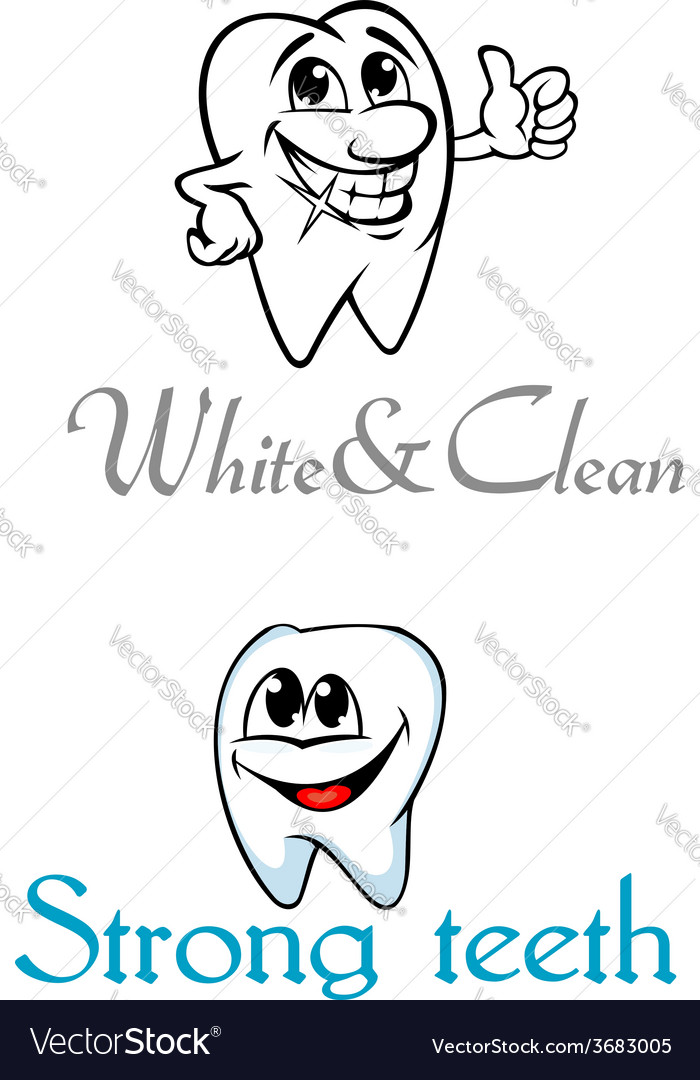 Happy smiling cartoon teeth for logo or emblem vector | Price: 1 Credit (USD $1)