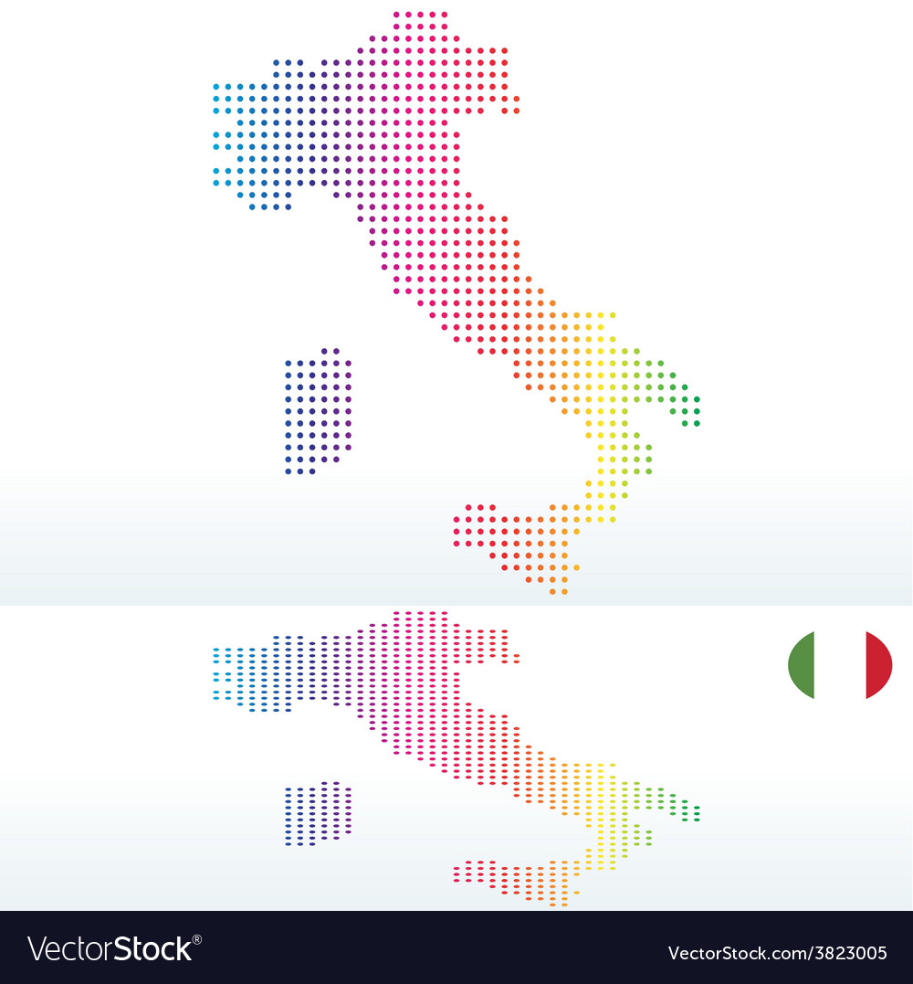 Map of italian republic italy with with dot vector | Price: 1 Credit (USD $1)