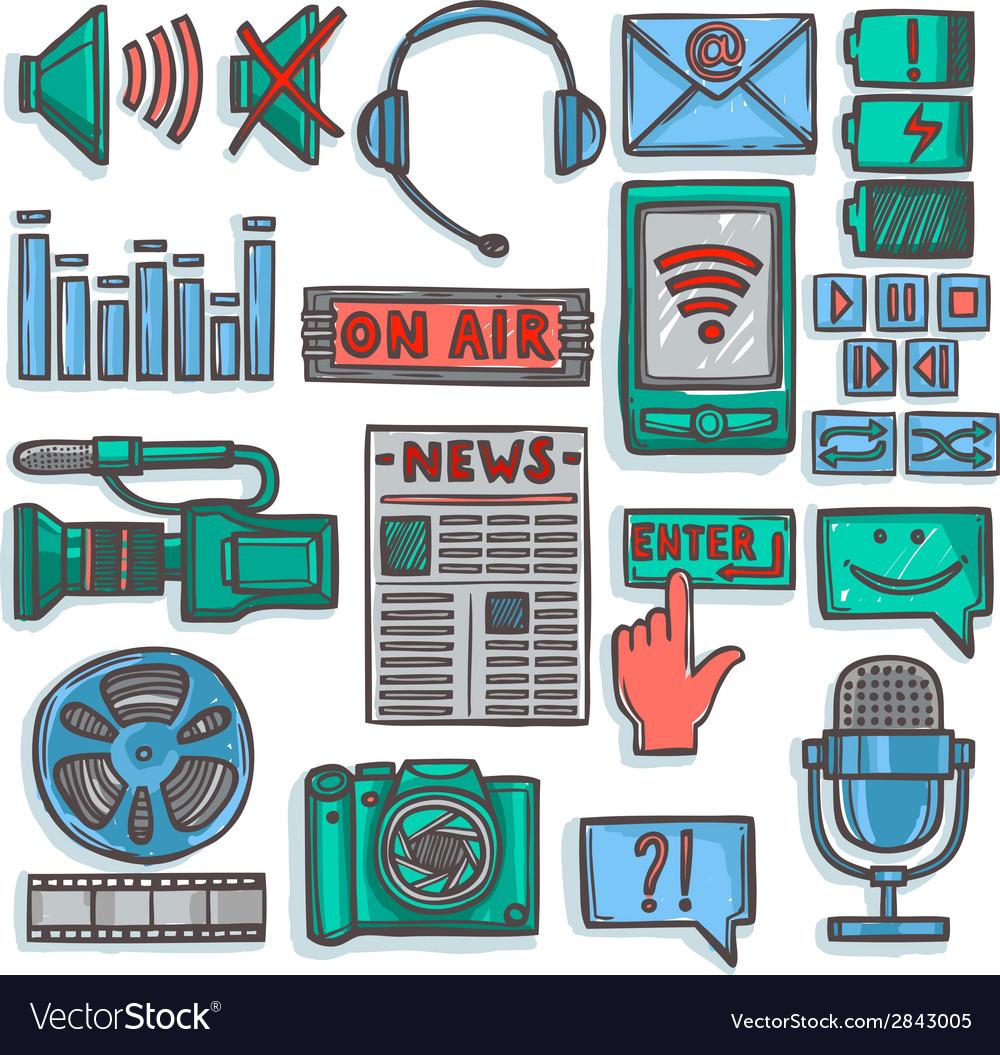 Media sketch icons set color vector | Price: 1 Credit (USD $1)