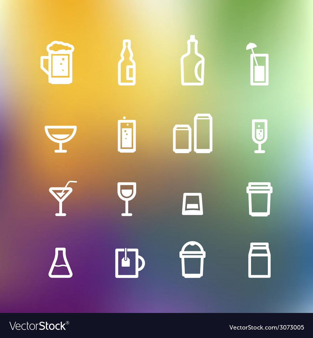 White drink icons clip-art on color background vector | Price: 1 Credit (USD $1)