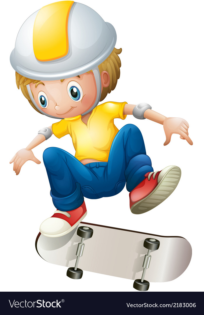 A boy playing with the rollerskate vector | Price: 1 Credit (USD $1)