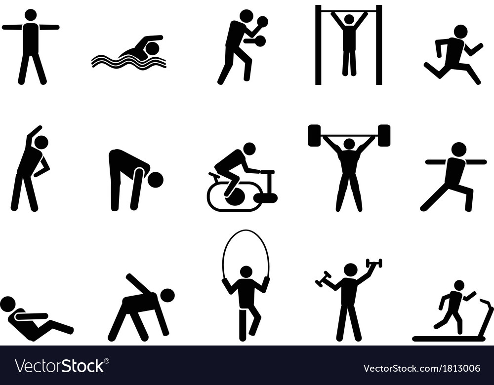 Black fitness people icons set vector | Price: 1 Credit (USD $1)