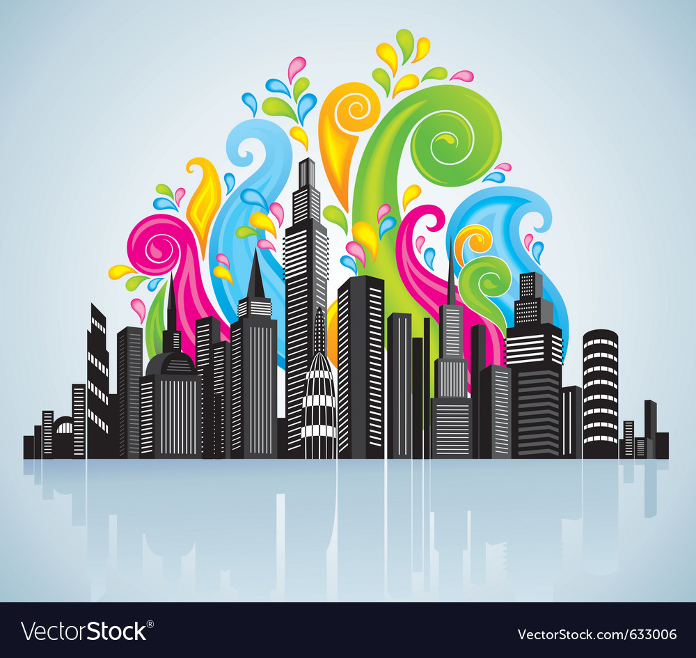 Colorful panorama city vector | Price: 1 Credit (USD $1)