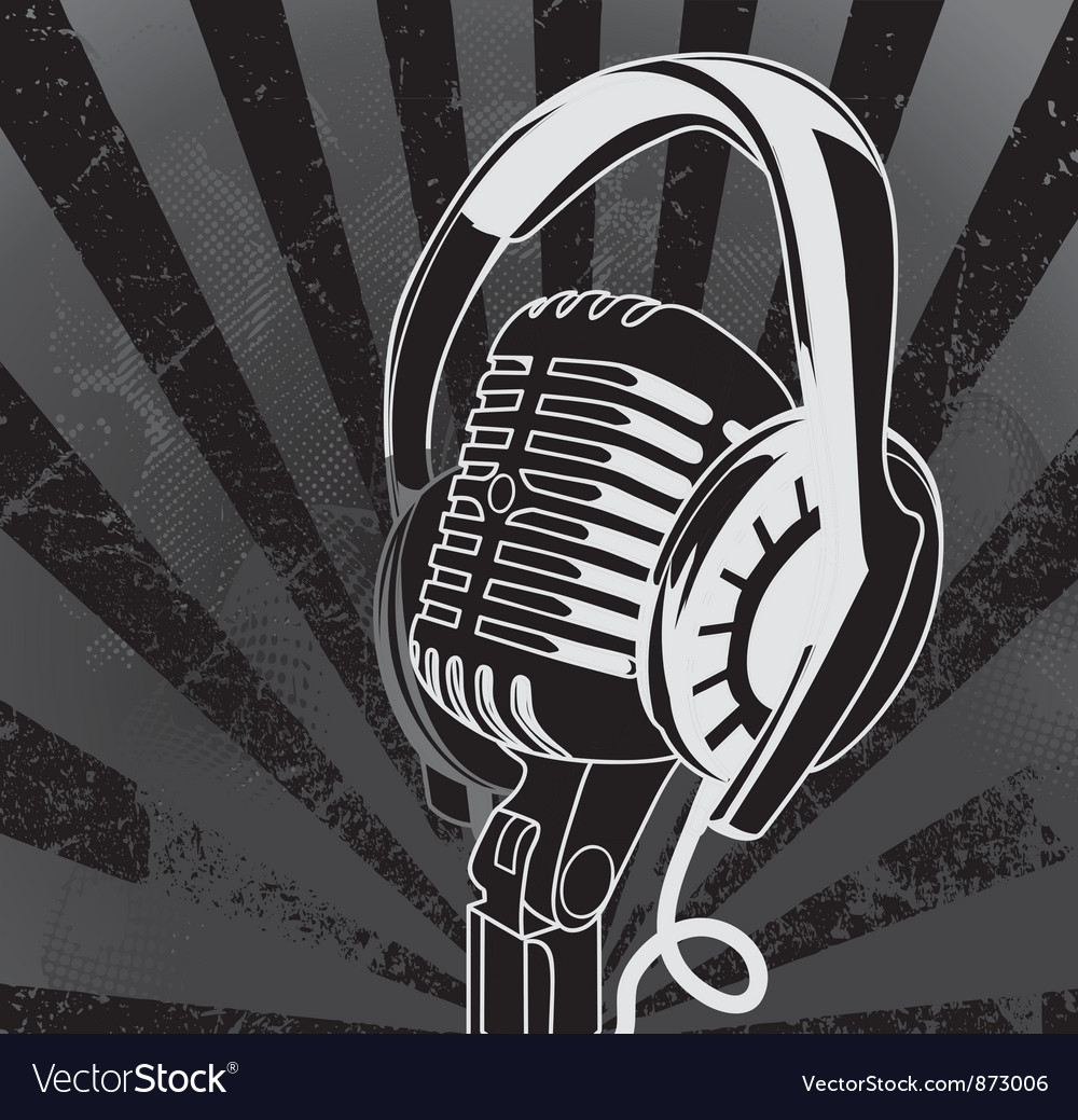 Concert poster with microphone vector | Price: 1 Credit (USD $1)