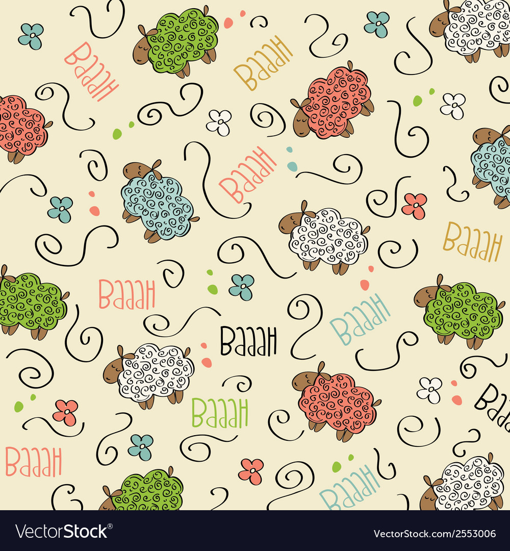 Cute seamless pattern with sheeps vector | Price: 1 Credit (USD $1)