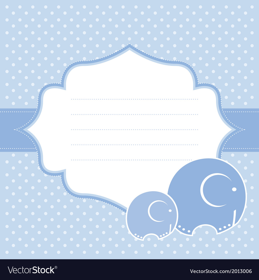 Elephant baby greeting card vector | Price: 1 Credit (USD $1)