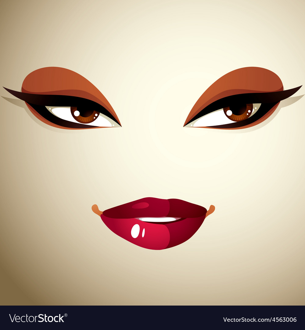 Facial expression of a young pretty woman coquette vector | Price: 1 Credit (USD $1)