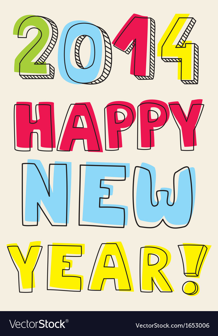 Happy new year 2014 hand drawn colorful wishes vector | Price: 1 Credit (USD $1)
