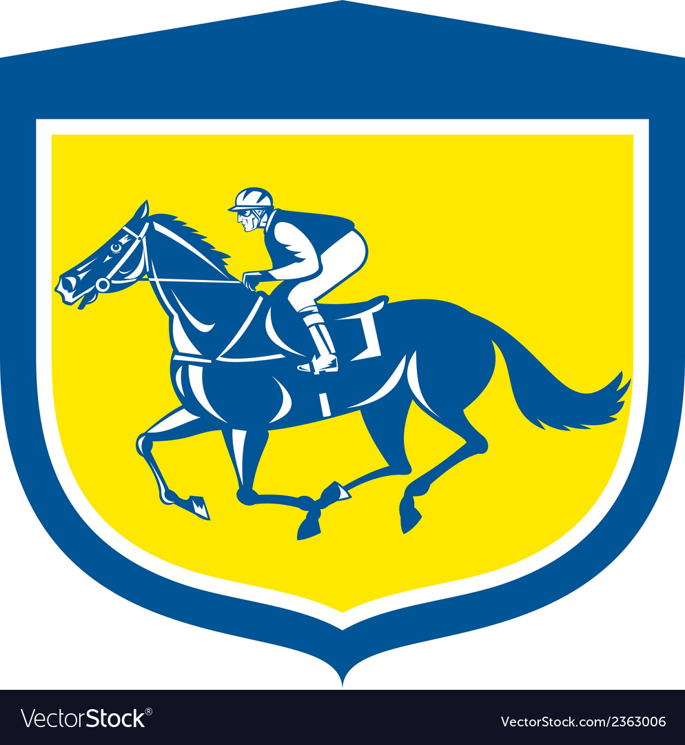 Jockey horse racing side view shield retro vector | Price: 1 Credit (USD $1)