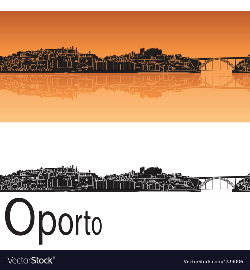 Oporto skyline in orange background vector | Price: 1 Credit (USD $1)