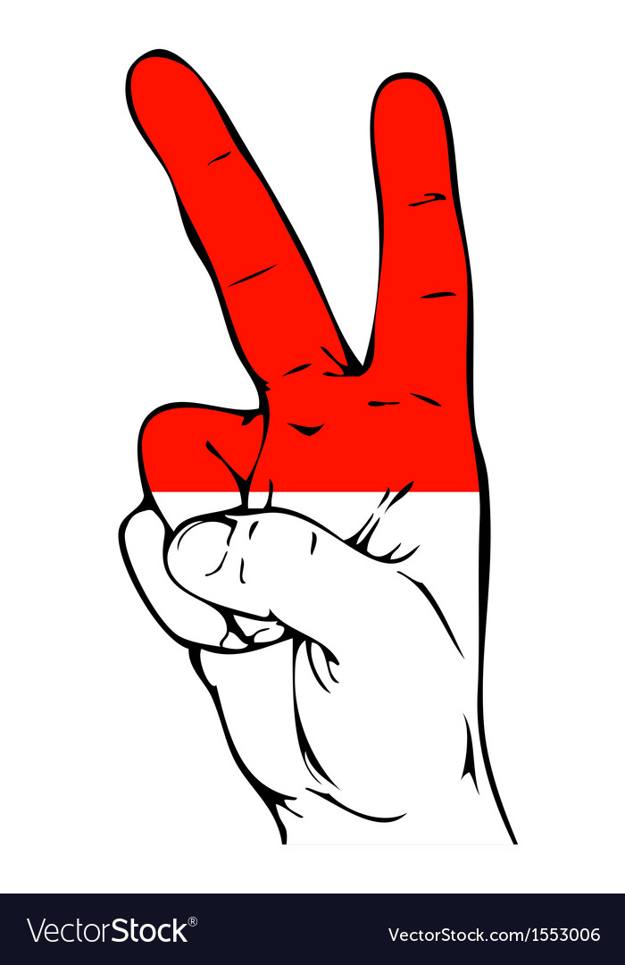 Peace sign of the indonesian flag vector | Price: 1 Credit (USD $1)