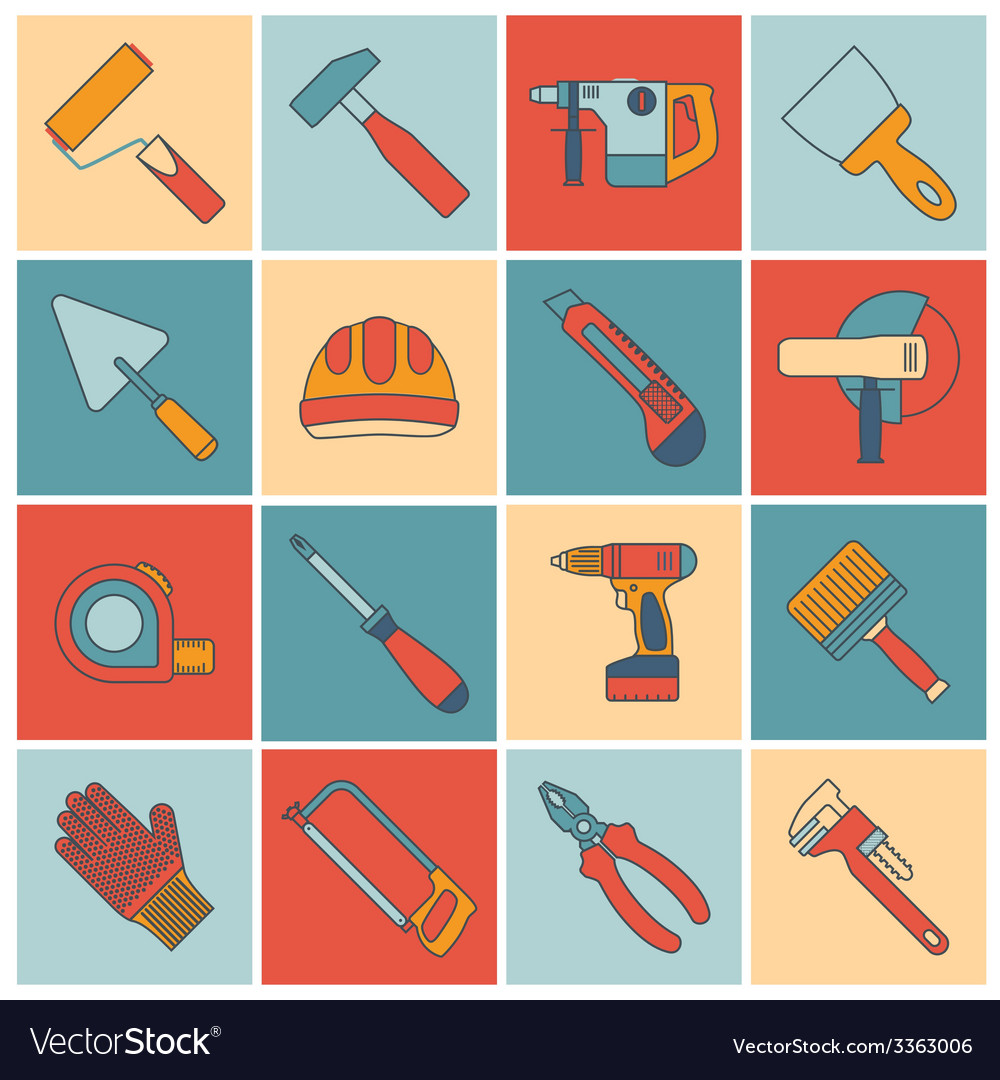 Repair construction tools flat line vector | Price: 1 Credit (USD $1)