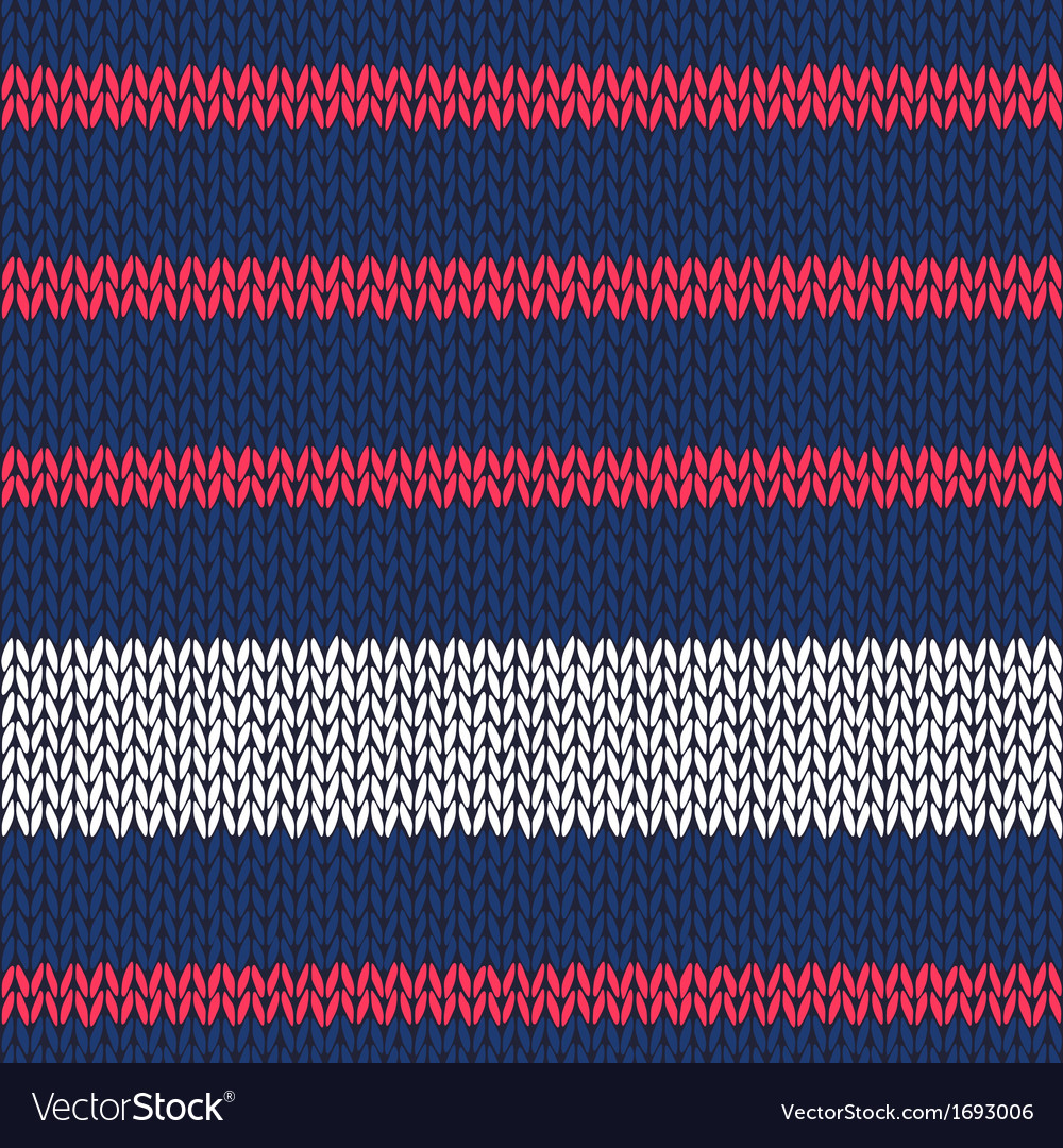 Seamless knitted pattern with red white stripes vector | Price: 1 Credit (USD $1)