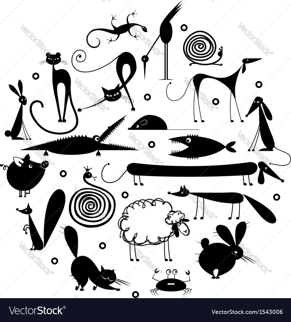 Set of 20 animals black silhouette for your design vector | Price: 1 Credit (USD $1)