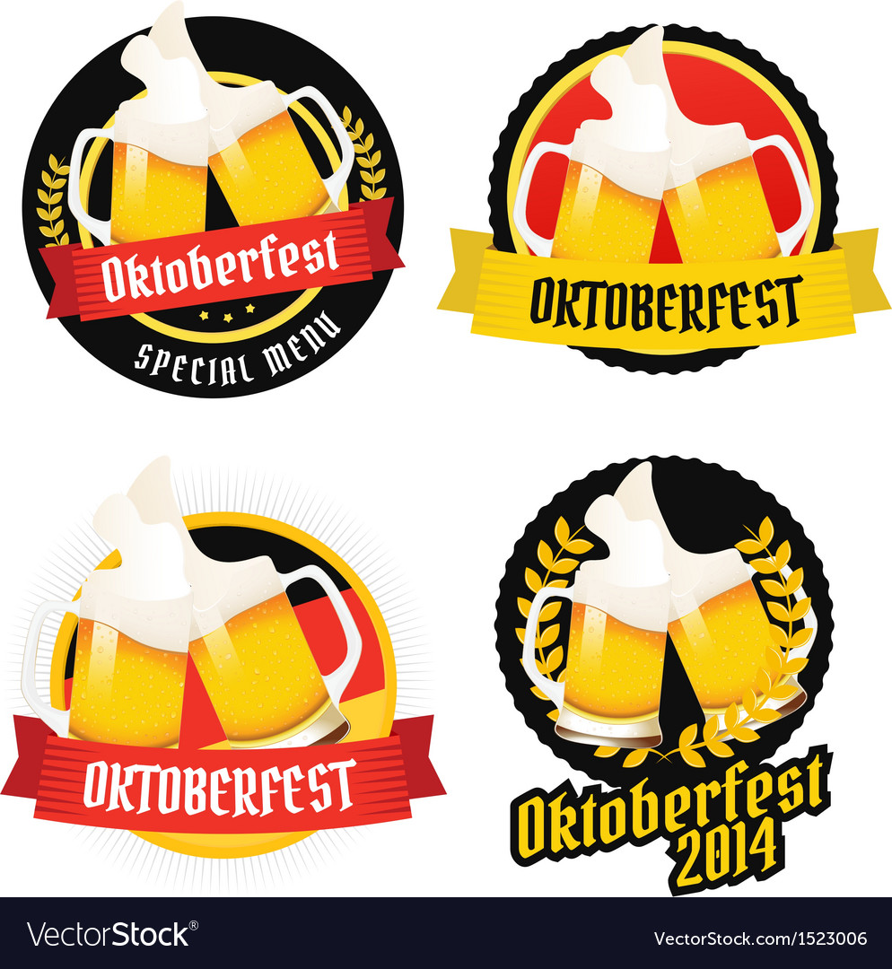 Set of oktoberfest labels badges menu elements vector | Price: 1 Credit (USD $1)