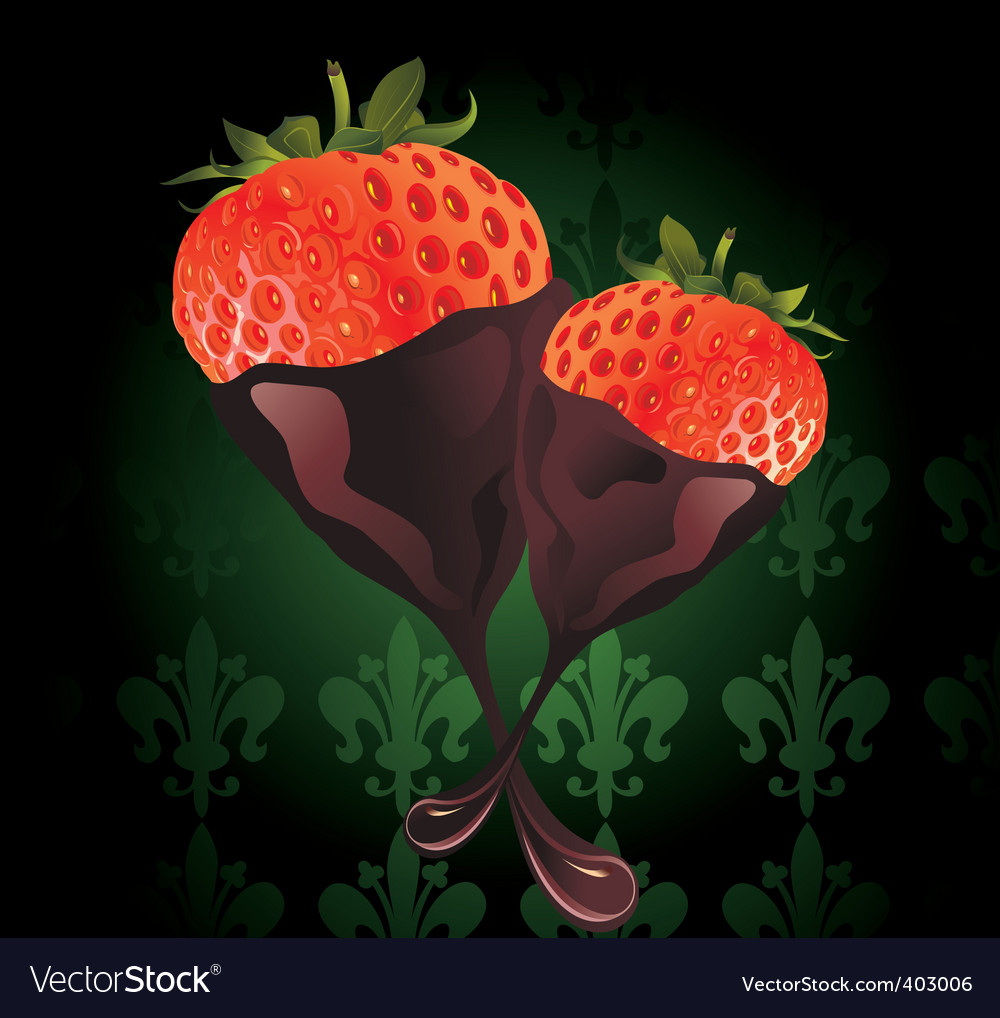 Strawberry in chocolate illust vector | Price: 1 Credit (USD $1)