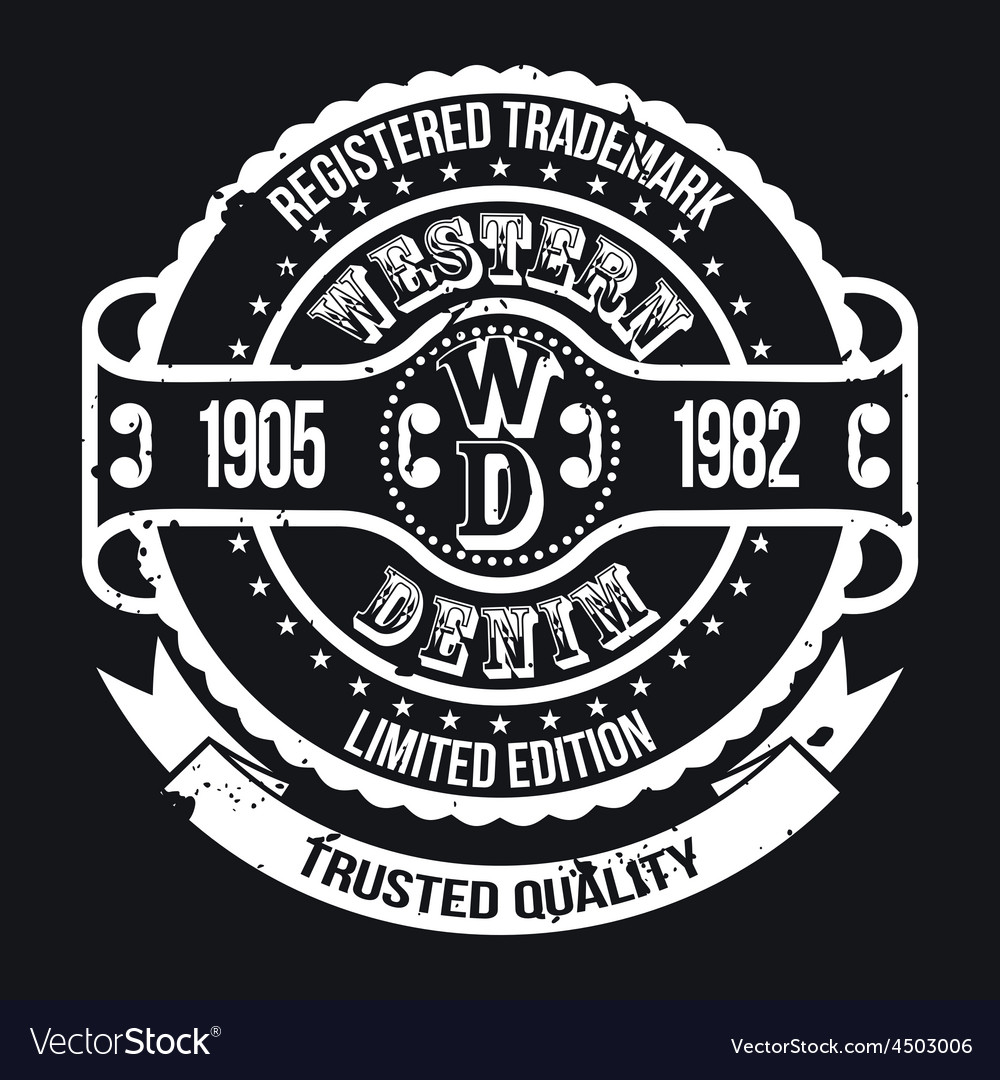 Western denim tshirt typography vector