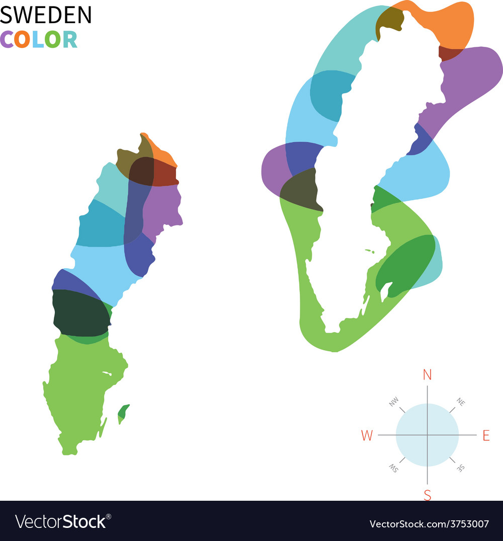 Abstract color map of sweden vector   Price: 1 Credit (USD $1)
