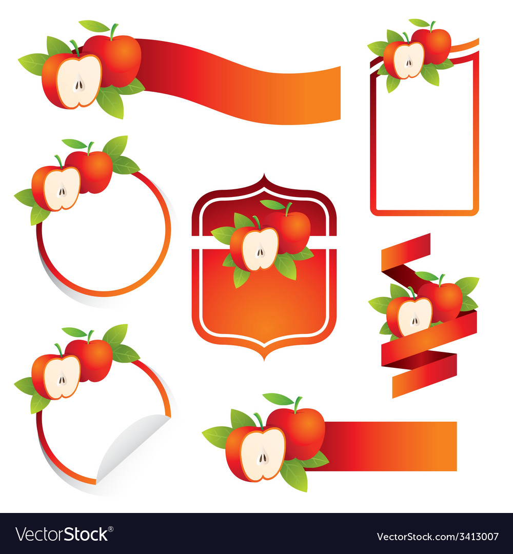 Apple label set vector | Price: 1 Credit (USD $1)