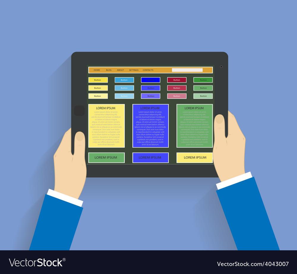 Businessman hands holding modern digital tablet vector | Price: 1 Credit (USD $1)