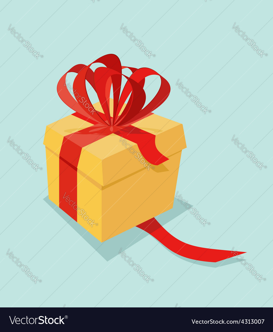 Cartoon gift box with ribbon bow and blank tag vector | Price: 1 Credit (USD $1)