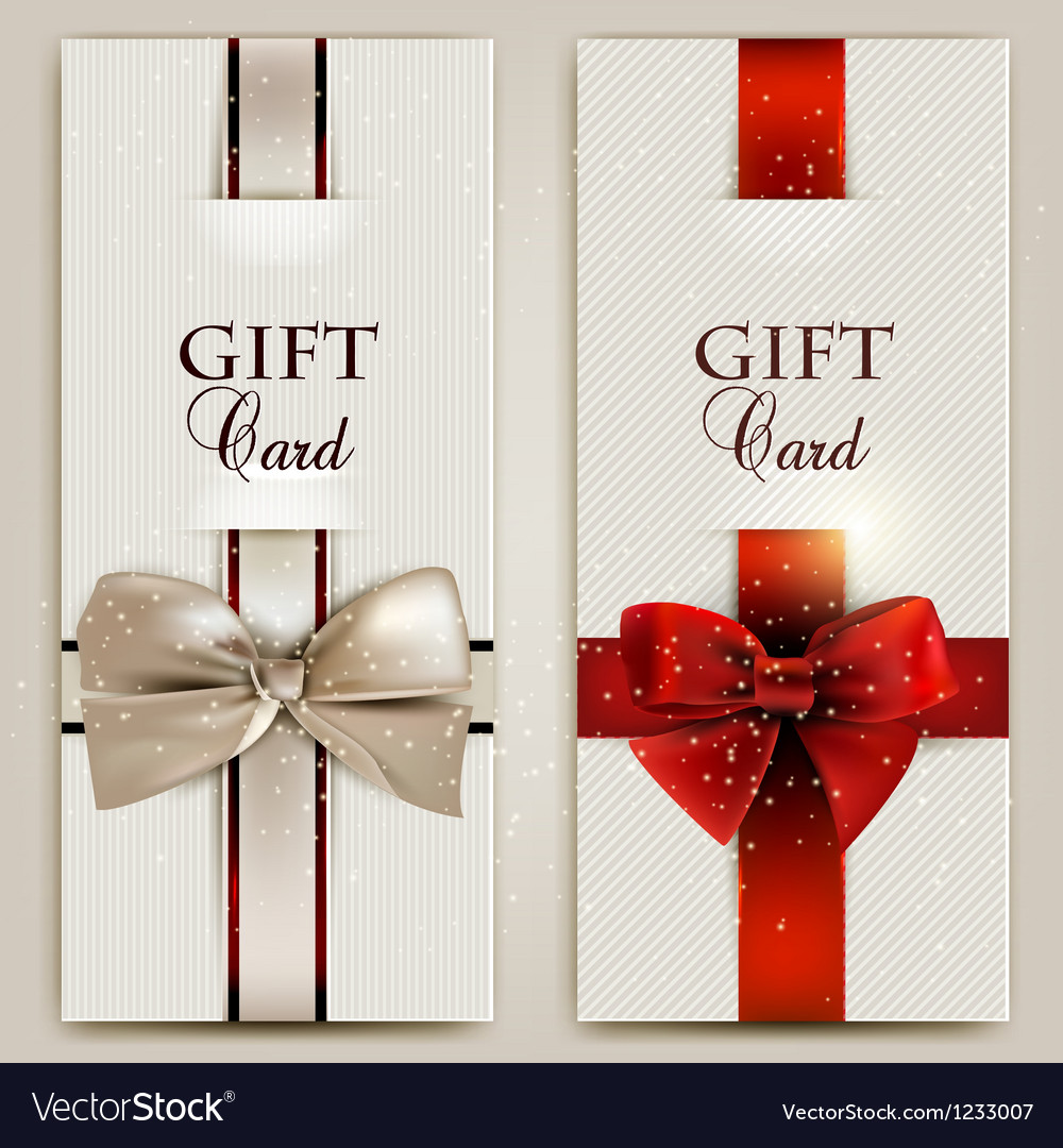 Gorgeous gift cards with bows and copy space vector | Price: 1 Credit (USD $1)