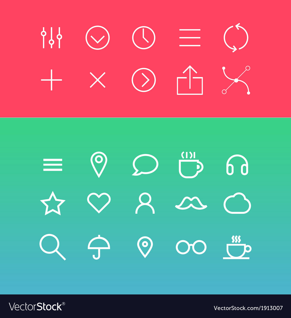 Modern icons set in flat style vector | Price: 1 Credit (USD $1)